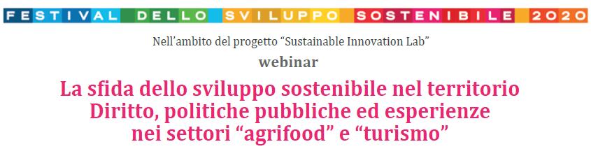Ciclo di webinar: La sfida dello sviluppo sostenibile nel territorio