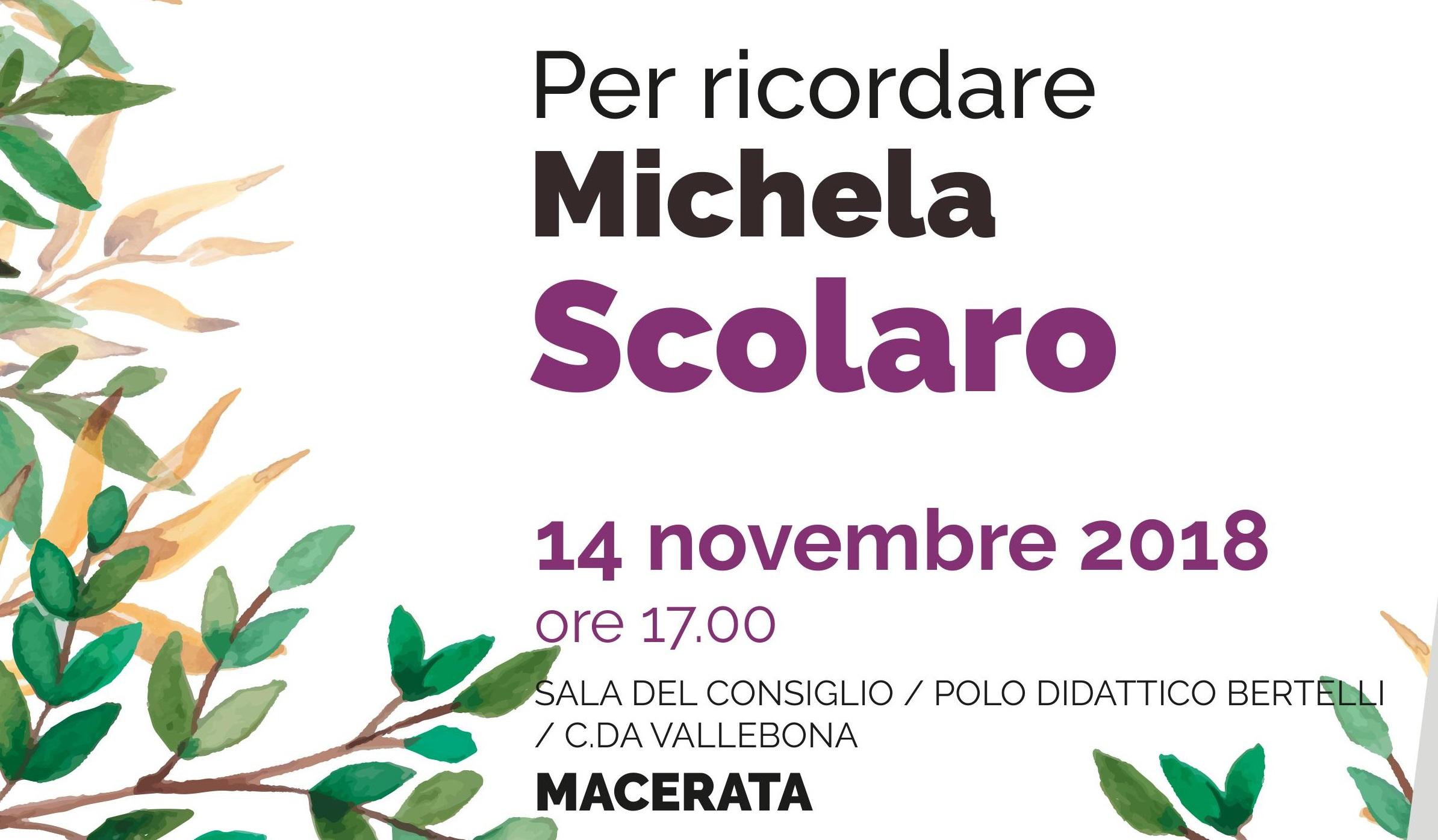 """Iniziativa """"Per ricordare Michela Scolaro"""""""